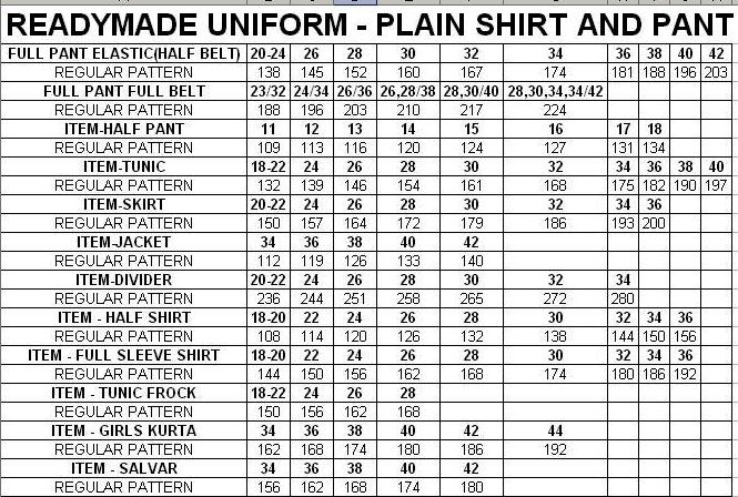 Readymade Uniform Price List - Plain Shirting and Suiting