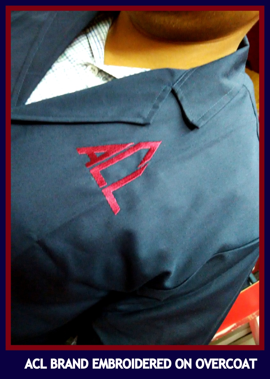 Logo embroidered on overcoat