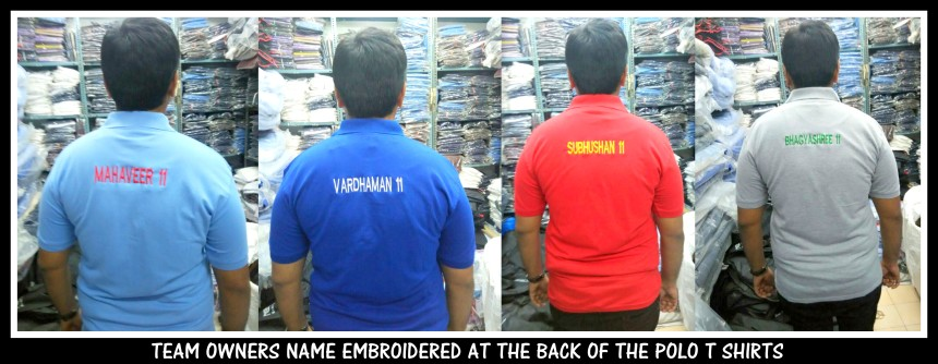 The team owners name embroidered on the back of the polo T shirt