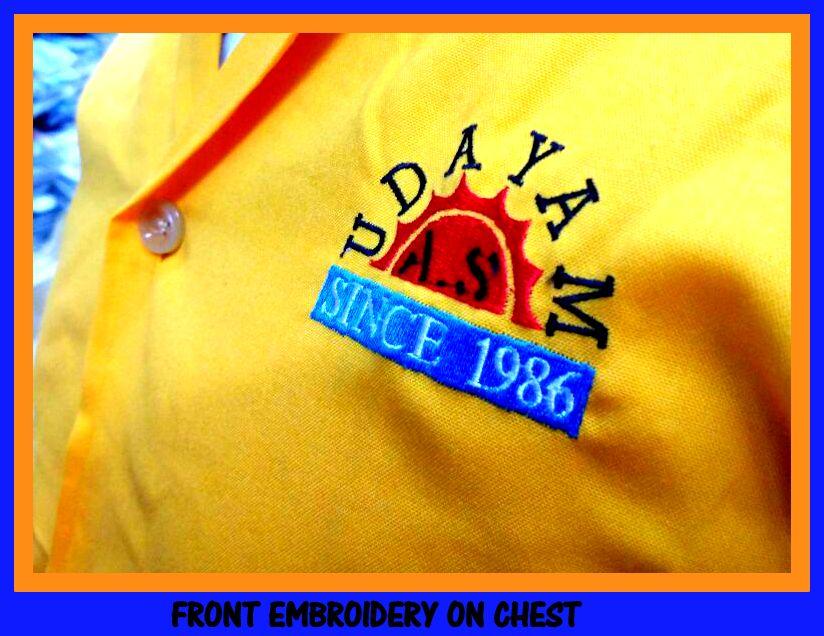 Company logo on uniform