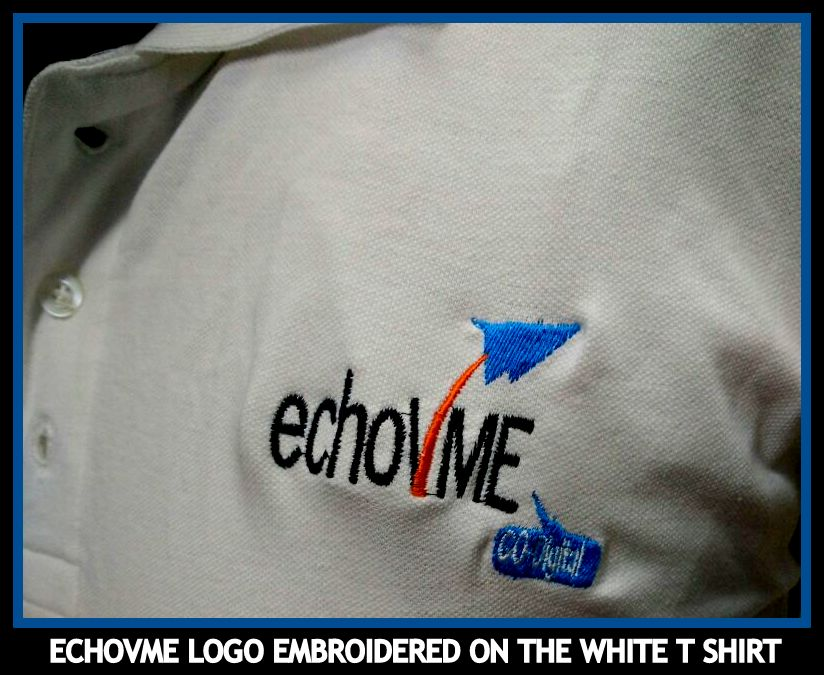 Embroidery of the logo on plain t shirt - Uniformis in Chennai