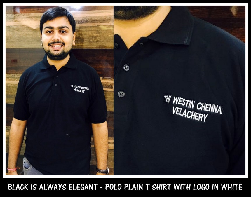 Uniform T shirt with logo embroidery - Plain black 100 % Cotton Tshirts