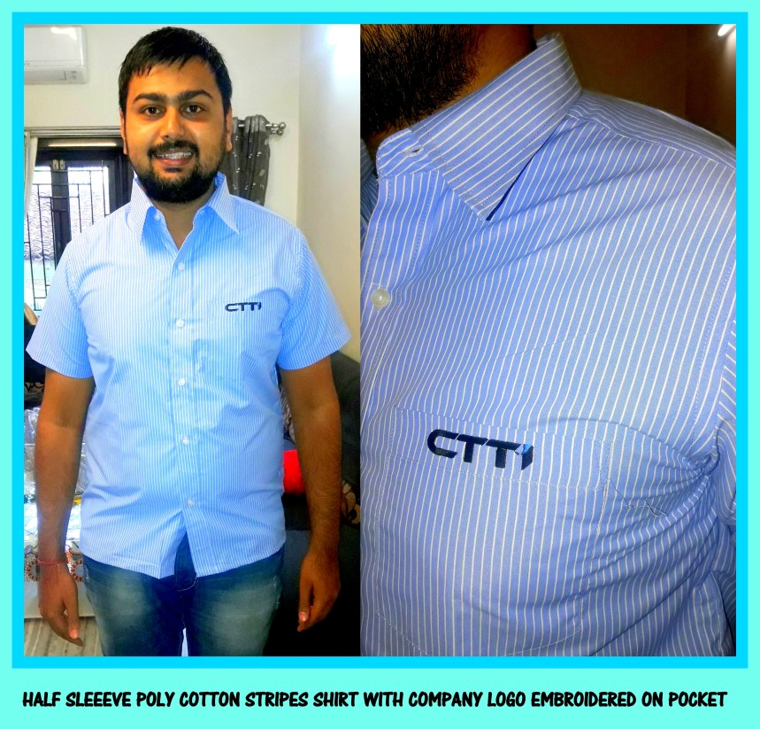 Half sleeve shirt with embroidery of the company