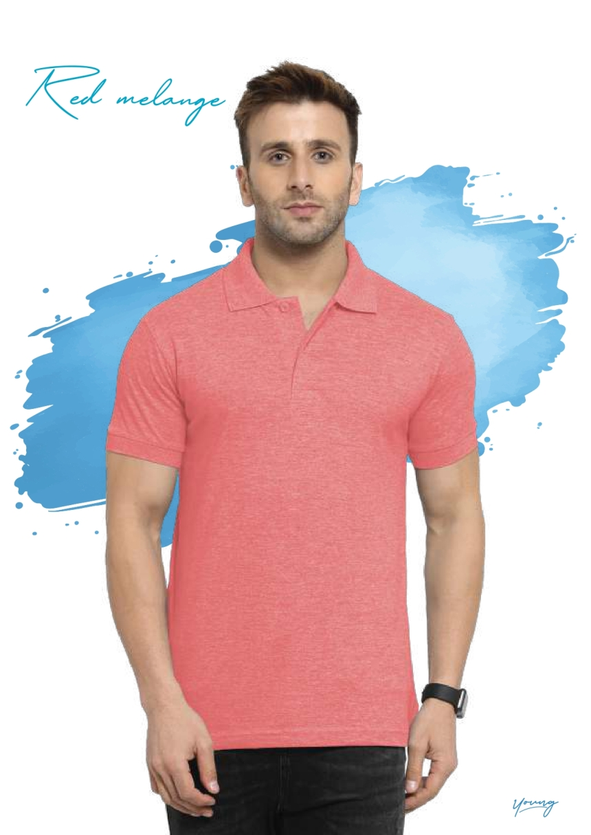 Scott young red melange t-shirt in Chennai- Rsm Uniform Chennai